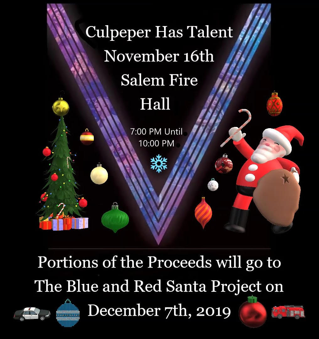 Culpeper Has Talent graciously donates to Blue & Red Santa Project