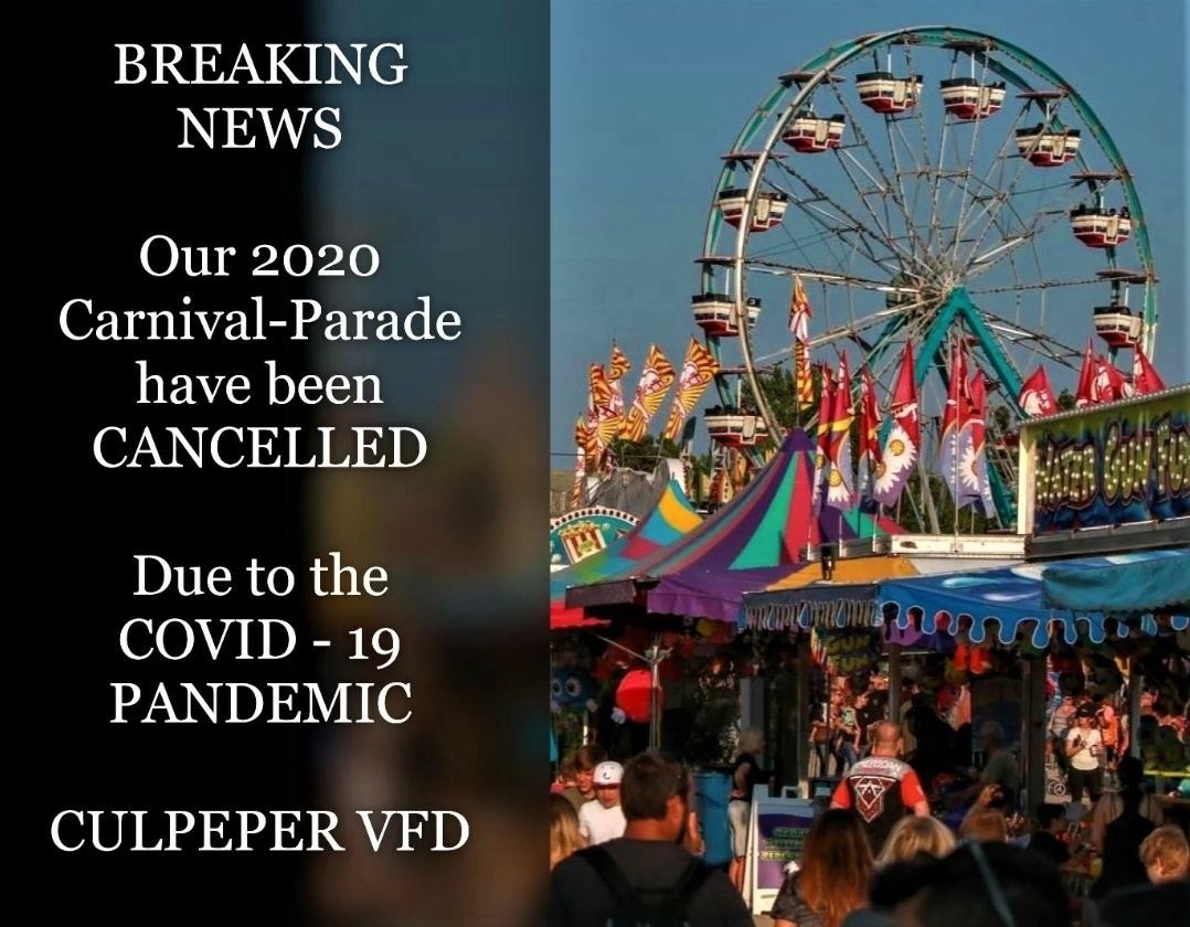 2020 Firemans Parade and Carnival are Canceled!!!